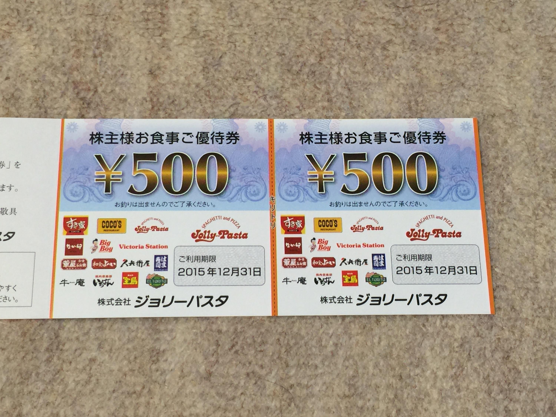 ジョリーパスタから株主優待券1,000円