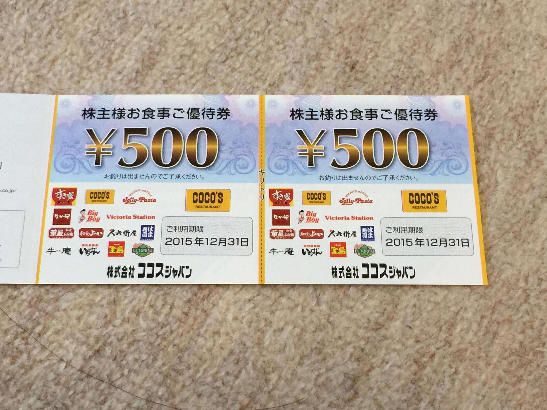 ココスジャパンから株主優待券1,000円