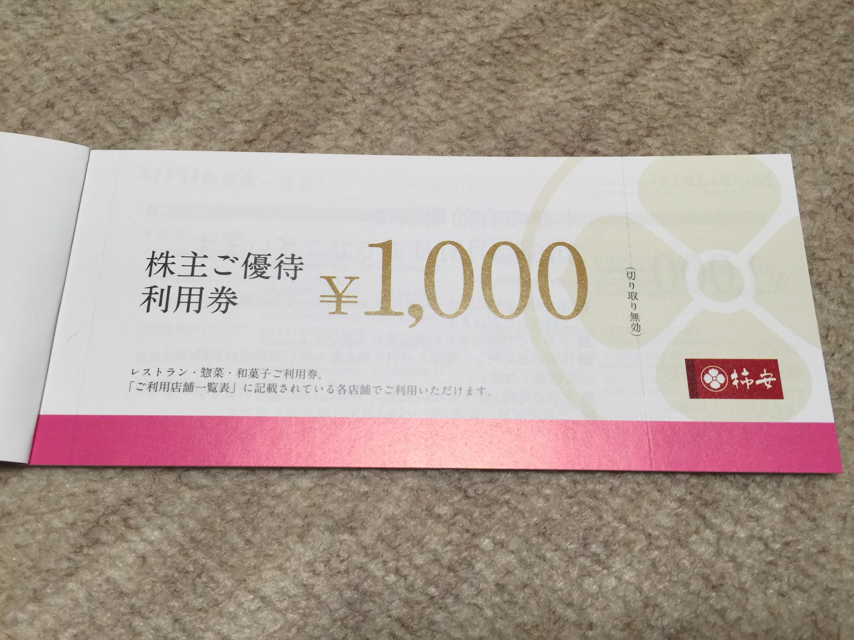 柿安本店から株主優待券1,000円