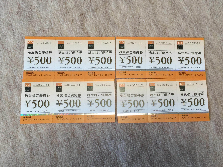 クリエイト・レストランツ・ホールディングスから株主優待券6,000円