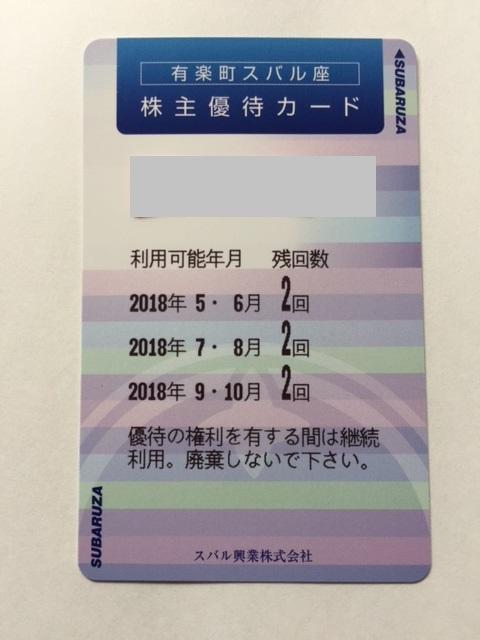 スバル興業の株主優待 有楽町スバル座で映画鑑賞できる優待カード